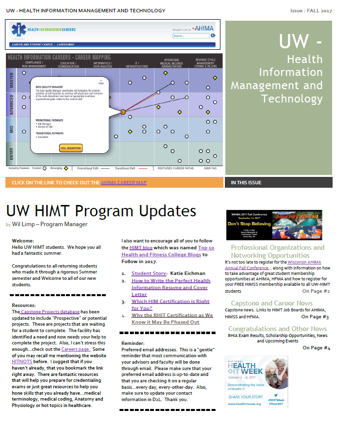 Fall 2017 Himt Student Newsletter Uw Health Information Management